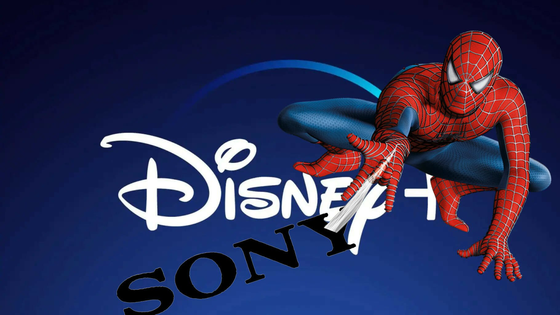 Spider-Man on Sony and Disney Plus Logos